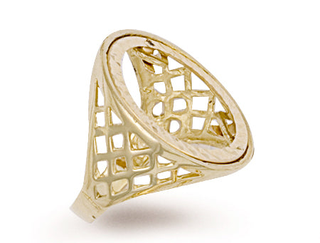 Yellow Gold Half Basket Sides Sovereign Ring TGC-R0002