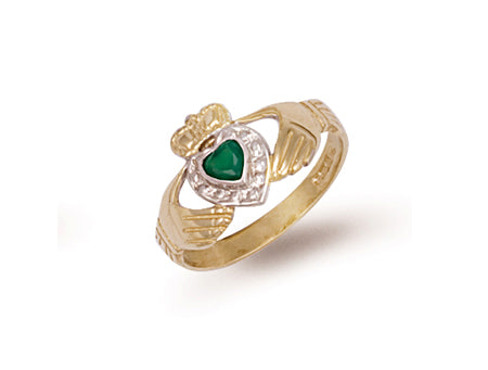 Yellow Gold Cz & Agate Claddagh Ring TGC-R0326