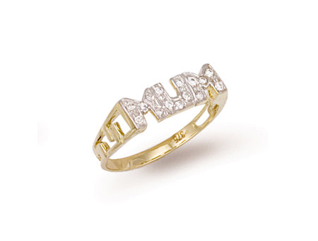 Yellow Gold Cz ID Sides Mum Ring TGC-R0384