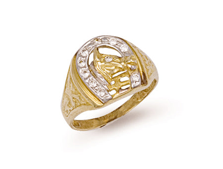 Yellow Gold Horse Shoe & Head Cz Ring TGC-R0390