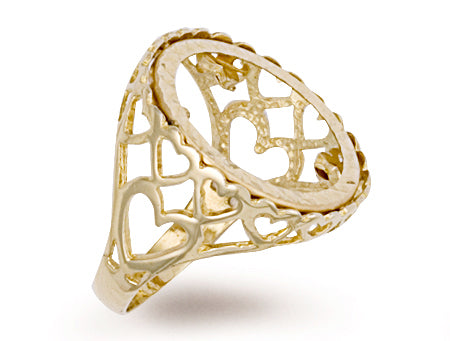 Yellow Gold Half Heart Sides Sovereign Ring TGC-R0003