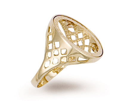 Yellow Gold Tenth Basket Sides Sovereign Ring TGC-R0004