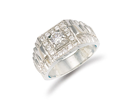 White Gold Square Top Gents Cz Ring TGC-R0552