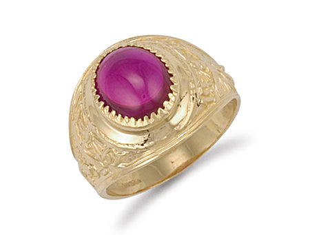Yellow Gold Red Cabochon College Ring TGC-R0567