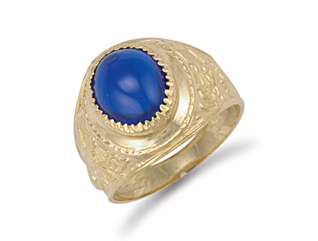 Yellow Gold Blue Cabochon College Ring TGC-R0568