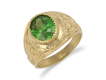 Yellow Gold Green Cz College Ring TGC-R0569