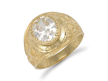 Yellow Gold White Cz Stone College Ring TGC-R0570