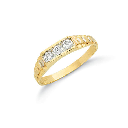 Yellow Gold Cz Baby Ring TGC-R0596