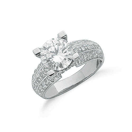 White Gold Fancy Cz Ring TGC-R0600