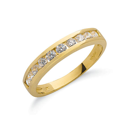 Yellow Gold Cz Eternity Ring TGC-R0617