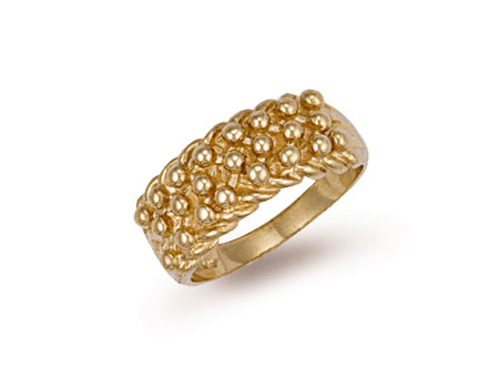 Yellow Gold Woven Back 3 Row Keeper Ring TGC-R0065