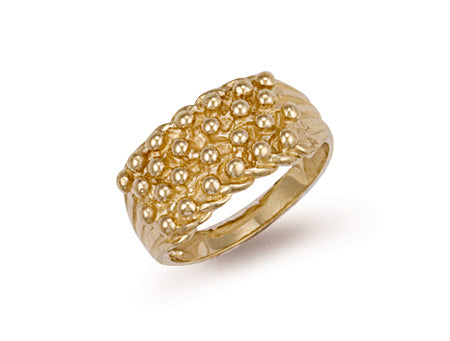 Yellow Gold Woven Back 4 Row Keeper Ring TGC-R0066