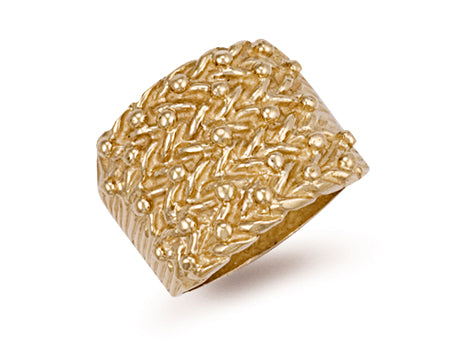 Yellow Gold Woven Back 5 Row Keeper Ring TGC-R0068