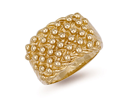 Yellow Gold Woven Back 6 Row Keeper Ring TGC-R0069