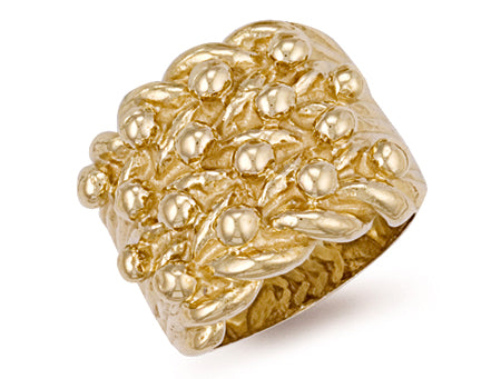 Yellow Gold Woven Back 4 Row Keeper Ring TGC-R0072