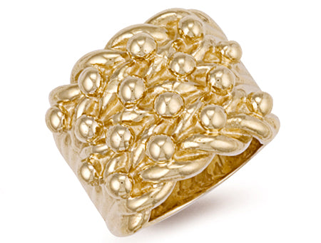 Yellow Gold Woven Back 4 Row Keeper Ring TGC-R0073
