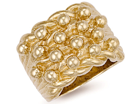 Yellow Gold Woven Back 4 Row Keeper Ring TGC-R0074