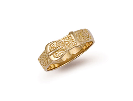 Yellow Gold Patterned Buckle Ring TGC-R0077