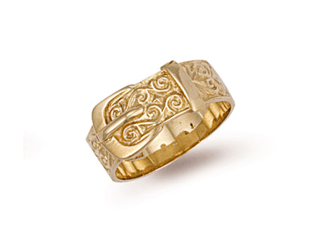 Yellow Gold Patterned Buckle Ring TGC-R0078