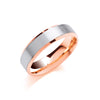 6mm Flat Court Bevelled Edge, Matt Finish Two Colour Wedding Band  TGC-WR0071