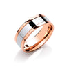 8mm Flat Court Two Colour with Parallel Groove Wedding Band  TGC-WR0081