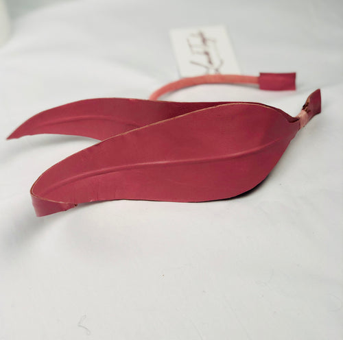 Pink leather feather | FREE SHIPPING
