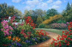 Brilliant Path original oil painting. Beautiful gardens on the perfect summer day, the path leads you on your way.