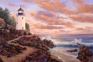 Lighting the Way original oil painting of a dreamy light house on the coast.