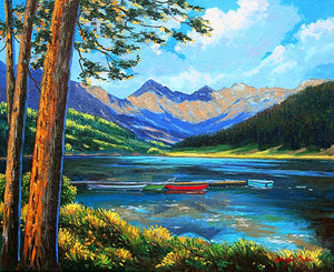 Piney Ranch Colorado Original Oil Painting A calming mountain range shadowed by the soring clouds and reflected in the pristine lake.