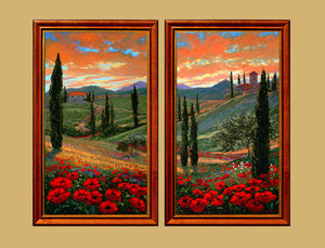Tuscan Fantasy 1&2 original oil on canvas based on the beautiful vistas at sunset of the Tuscan landscape.