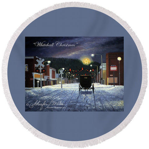 Whitehall Christmas - Round Beach Towel