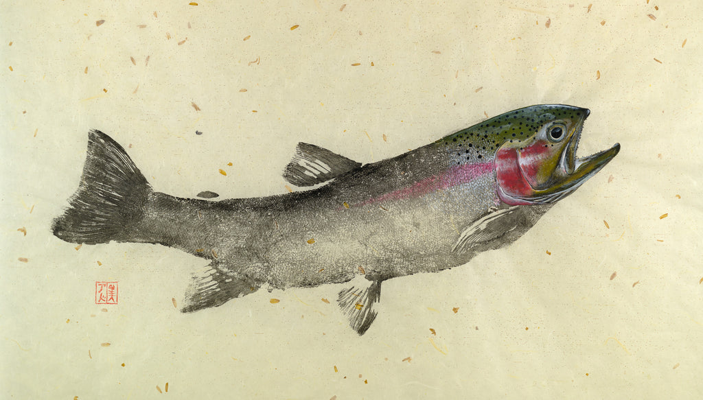 Rainbow Trout Gyotaku Reproduction by Salty Bones, fisherman gift, fish art, gift for Dad, fish lovers, coastal style, fish painting