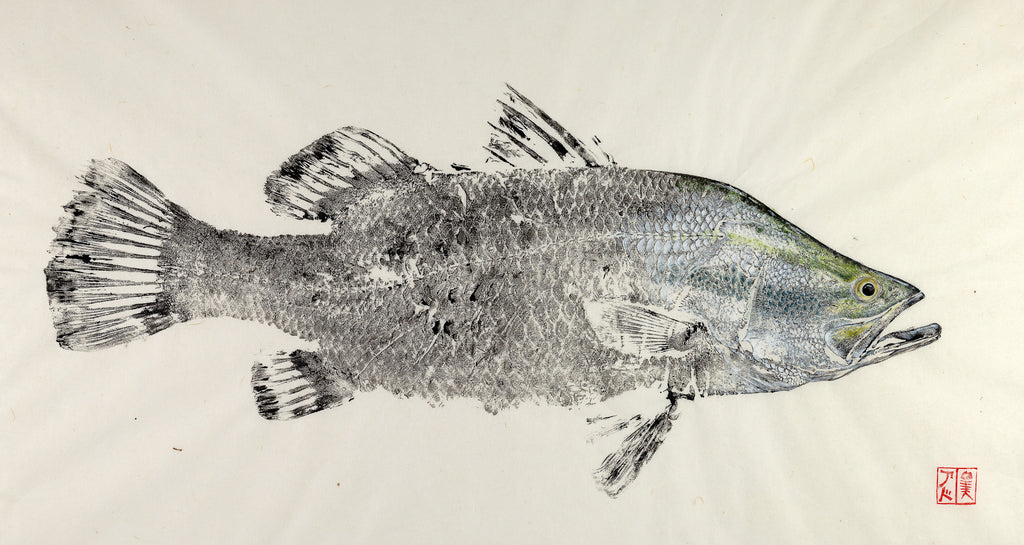 Barramundi reproduction by Salty Bones, fisherman gift, fish art, gift for Dad, fish lovers, coastal style, fish painting