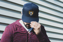 """Stay Grizzly"" Snapback Hat (Navy Blue) - Lift Me Up - Hand Drawn Patches Pins and Apparel"