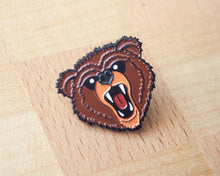"""Stay Grizzly"" Enamel Pin - Lift Me Up - Hand Drawn Patches Pins and Apparel"