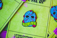 """Slay"" Enamel Pin (Retro Glow Varient) - Lift Me Up - Hand Drawn Patches Pins and Apparel"