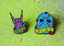 Freddy Vs. Jason Retro Glow Pin Set - Lift Me Up - Hand Drawn Patches Pins and Apparel