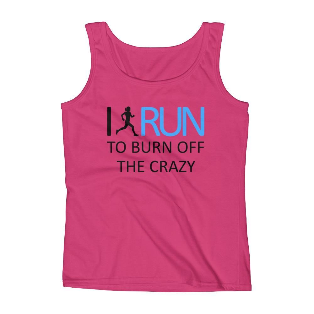 Ladies 39 run to burn off the crazy the run group for Hot pink running shirt