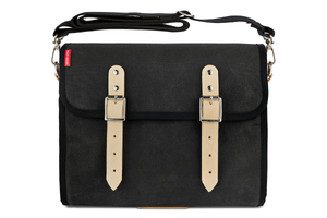 The Marvin, 12L, Compact - Black Canvas, Tan Leather