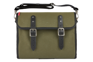 The Marvin, 12L, Compact - Dark Green Canvas, Black Leather
