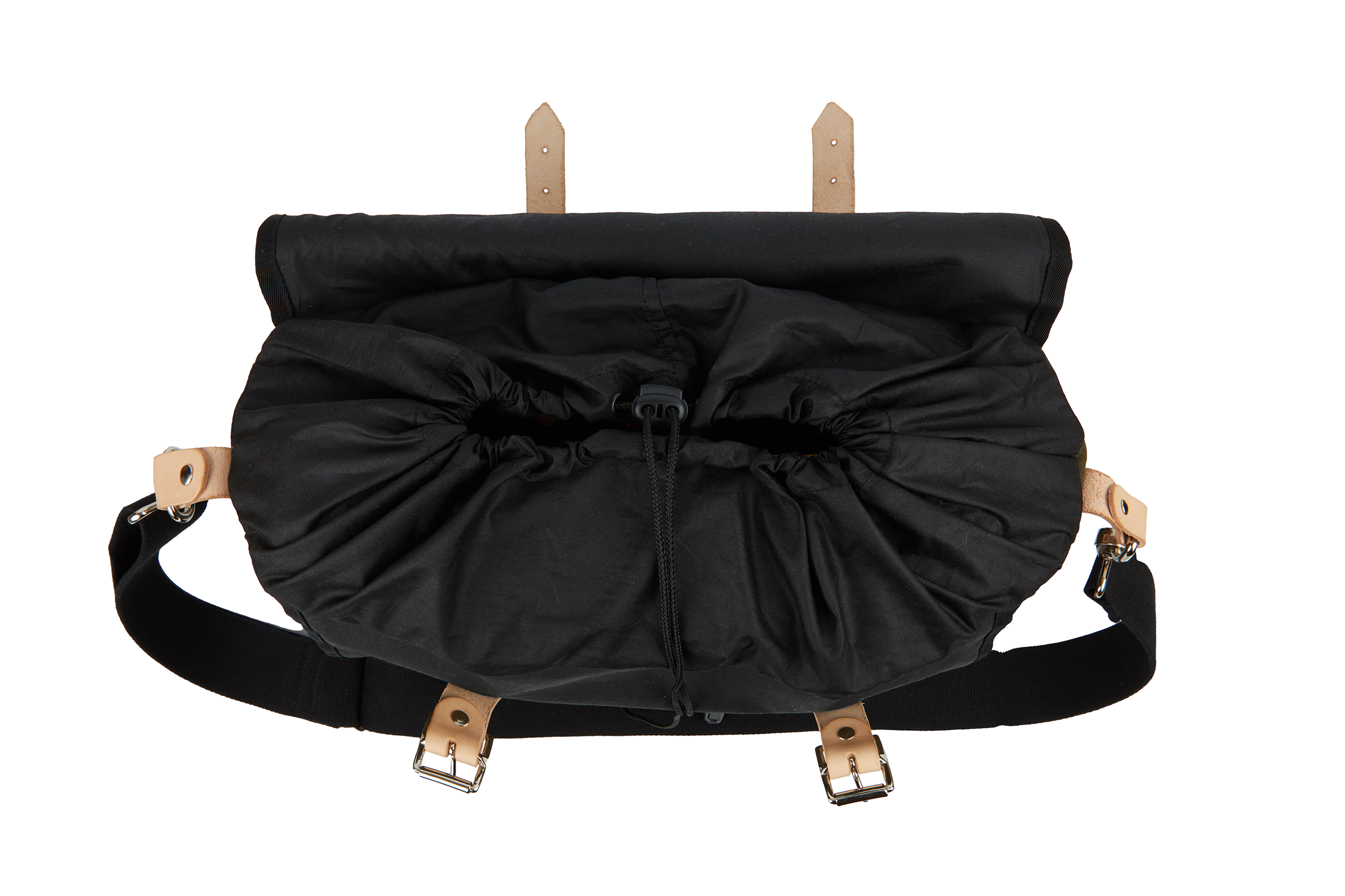 The Otis, 16L, Saddle Bag - Black Canvas, Tan Leather