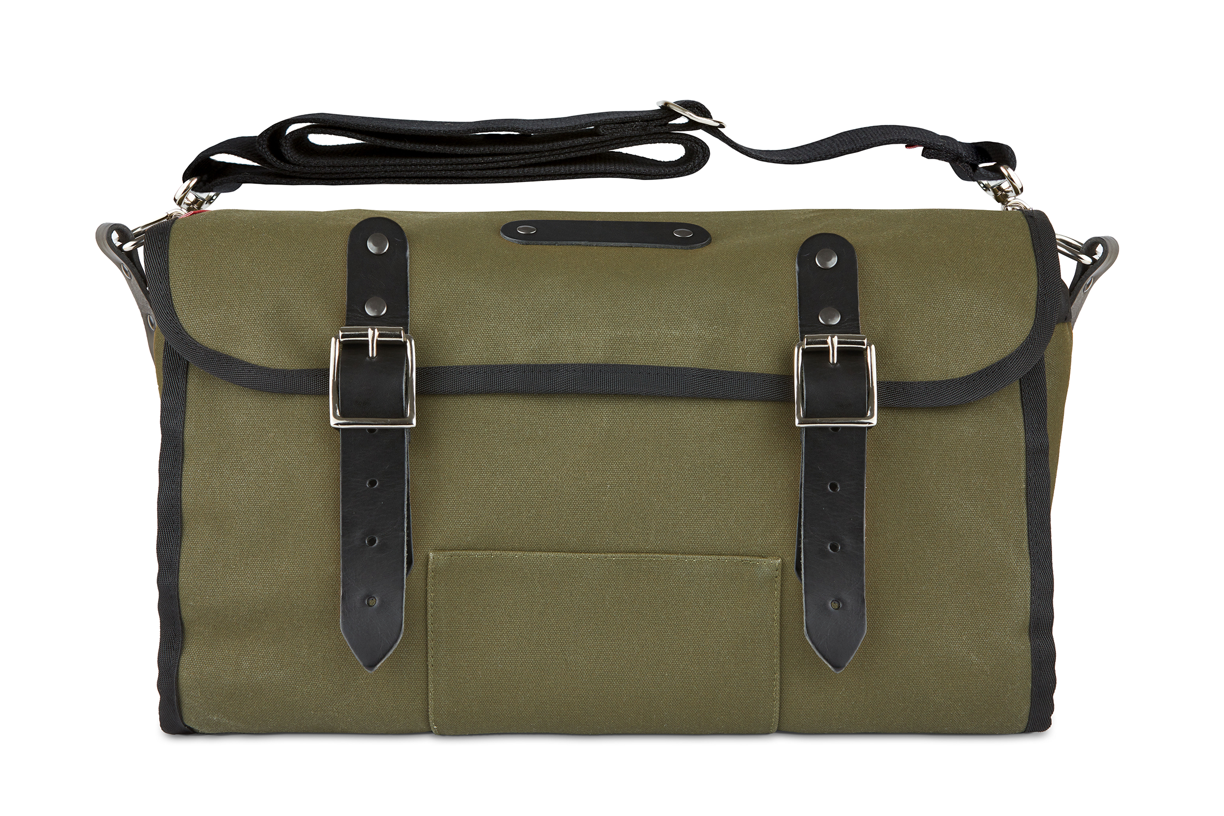 The Otis, 16L, Saddle Bag - Dark Green Canvas, Black Leather
