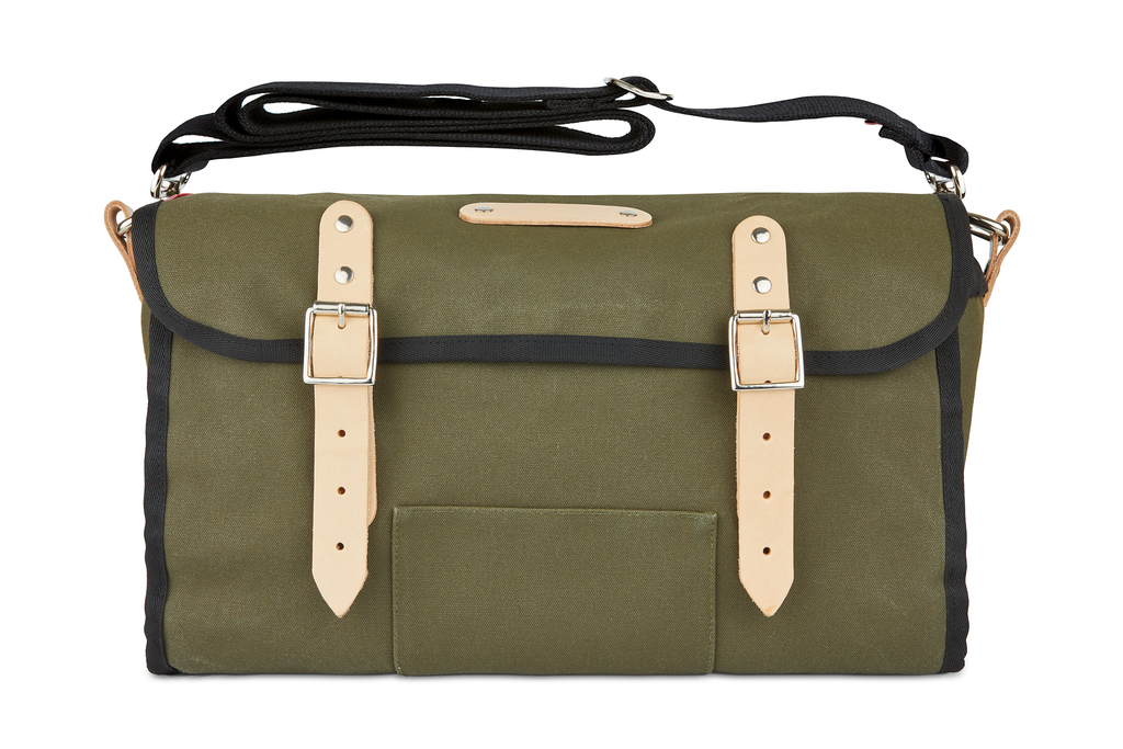 The Otis, 16L, Saddle Bag - Dark Green Canvas, Tan Leather