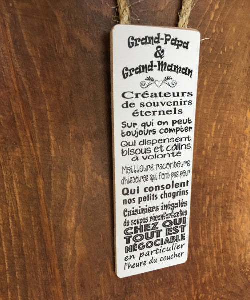 "Accroche porte à suspendre ""Grand-papa et grand-maman..."""
