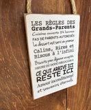 "Plaque à suspendre ""Règles des grands-parents..."""