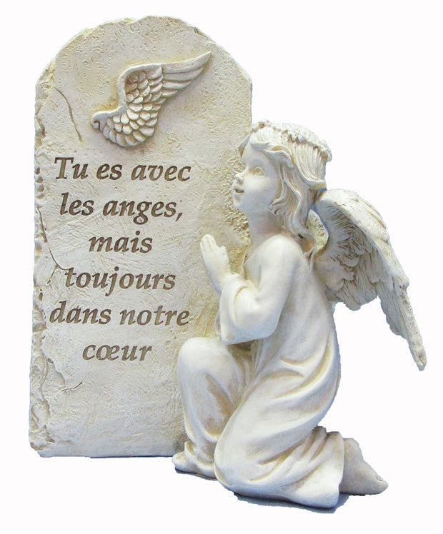Figurine d'ange qui prit avec message touchant