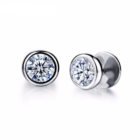 Boucles d'oreilles Homme 12mm Strass - Lookamor