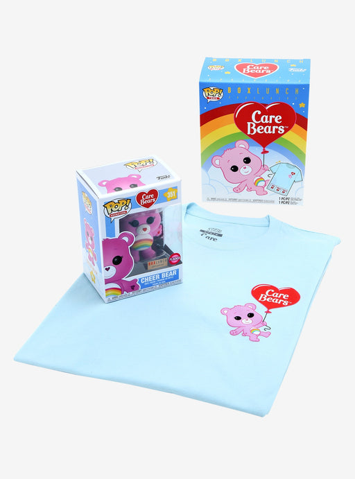 Funko Pop! Animation Tees - Care Bears Cheer Bear Flocked Exclusive w/T-Shirt Vinyl Figure Box Set - CharactersCo.com