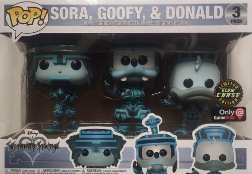 Funko Pop Disney Kingdom Hearts - Sora Goofy Donald Tron Exclusive 3 Pack Glow in the Dark Chase Vinyl Figures - Characters Co