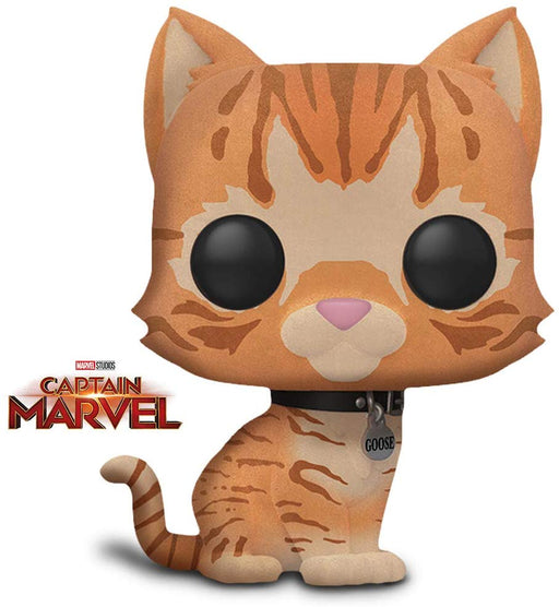 Funko Pop! Marvel Captain Marvel, Goose The Cat  Flocked Exclusive Viynl Figure - Characters Co